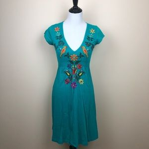 JWLA Johnny Was turquoise embroidered dress